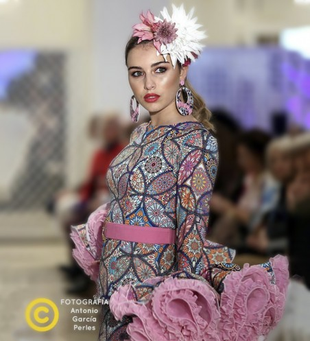 Vestido de Flamenca Malva y Estampado
