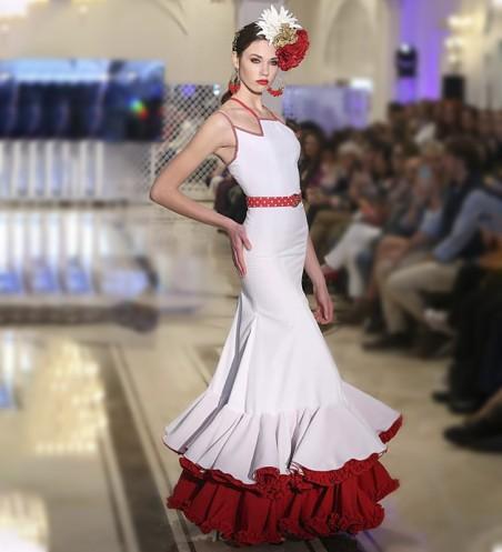 Vestido de flamenca blanco y rojo