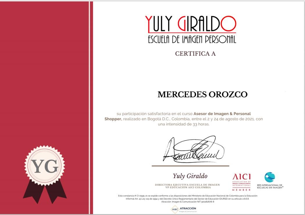 Certificado asesoria de imagen y personal shoper